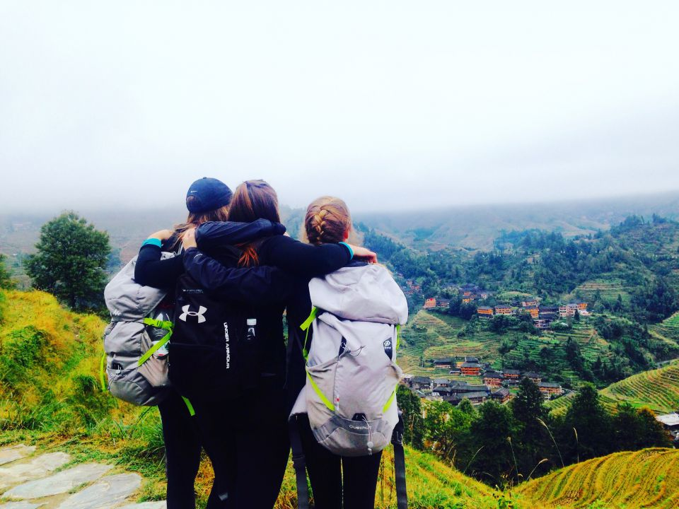 Solty and two other Queen's students overlooking the Longji Rice Terraces in Guilin.