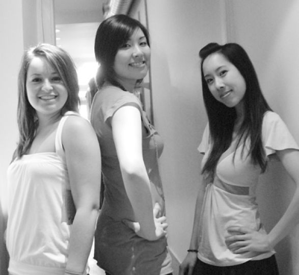 Photo by Joshua Chan Katie Cibrowski, Sharon Mok, and Jodie Lo are organizing WearFair to educate students about the clothing industry.