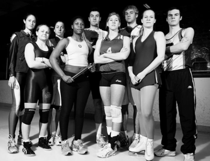 Pictured on the ice at Jock Harty, from left to right: Julie McVicar, Shannon Mullins, Claire Meadows, Dupe Oyewumi, Chris Van Dyk, Amanda Digel, Mitch Leger, Rachel Coens and Braden Novakowski are some of the stars of Queen's second-term athletics.