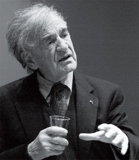Elie Wiesel spoke to around 60 students in the Fireside Reading Room at Stauffer Library this past Wednesday evening.