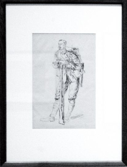 """The style of """"Standing Soldier Leaning on a Rifle"""" raises questions about the emotional scars of war."""