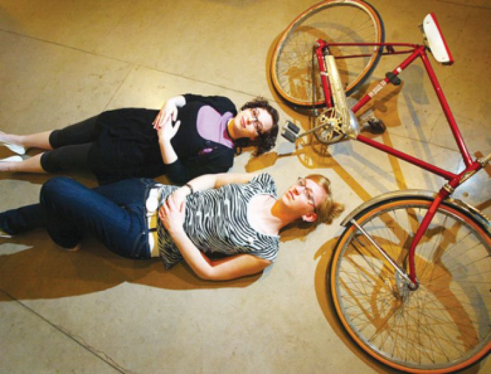 For the exhibit Objects of Significance curators Talie Shalmon and Lisa Visser collected treasures, like this broken bike, from members of the community.