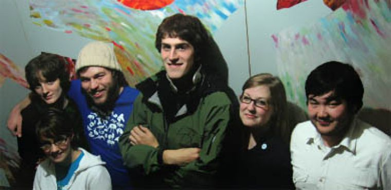 The Sweet Homewreckers, from left to right: Robyn Letson (bass/vocals), Dianna Thoms (trumpet), Neil Hirsch (guitar), Cam Malcolm (guitar/vocals), Melissa Pengilly (trumpet) and Mike Scott (drums).