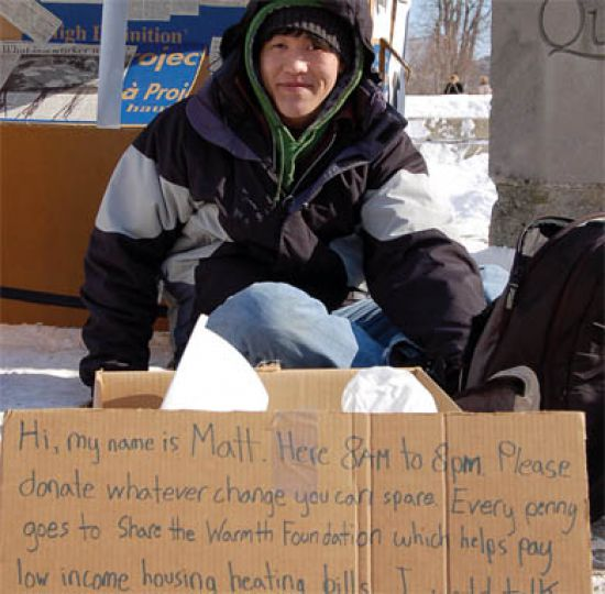 Members of Students Against Poverty spent 12 hours outside on Tuesday to raise awareness for homelessness.