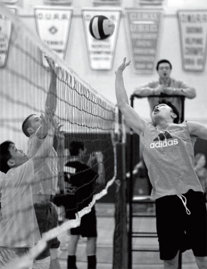 Students compete Sunday in the first annual Volley4Heart fundraising tournament. The event raised about $600 for the Heart and Stroke Foundation.