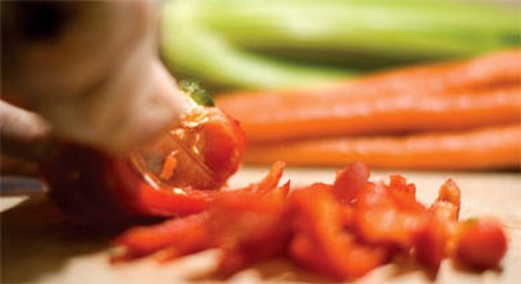 Buying fresh vegetables, peeling them and chopping them up at home as soon as you get back from the grocery store will give you the convenience of pre-cut vegetables for the rest of the week, without the added cost.