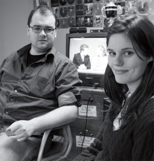 Tristan Moran, executive producter, and Jess Lindal, business manager, in the Studio Q office.