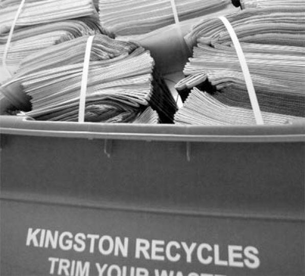 New grey recycling boxes in Kingston will be alternated weekly with blue boxes for pickup.