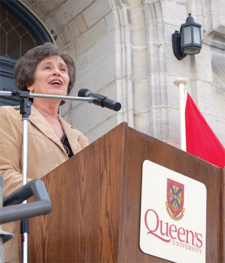 Principal Karen Hitchcock, pictured here on Oct. 5 at the Gordon Hall re-opening ceremony, said the University will continue to provide information to the public after opting out of the Maclean's annual university survey.