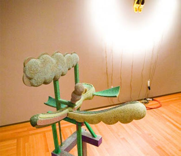 """From right to left, Alex Wyse's phallic """"Pleasant Industry"""" and Rebecca Belmore's haunting """"Mister Luna."""""""