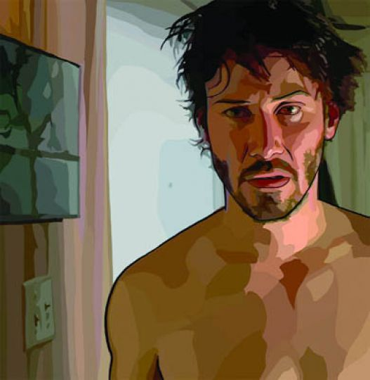A rotoscoped Keanu Reeves looks dazed and confused in A Scanner Darkly.