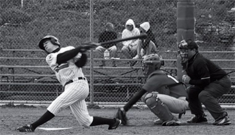 Stephen Gauthier makes contact during Saturday's doubleheader against York at Megaffin Park.