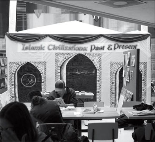 "The Muslim Students' Association set up displays in the Lower Ceilidh of the JDUC for this year's Islamic Awareness Week. There is an open ""Jummah"" prayer service in the McLaughlin room of the JDUC at 1:15 p.m. today."