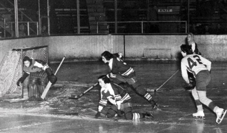 Jock Harty has seen its share of competition between Canadian universities. This photo shows a 1960s hockey game between Queen's and the University of Toronto.