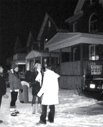 First-year students brave the bitter cold in search of homes for next year.