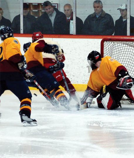 Gibb follows the puck last Wednesday at RMC.
