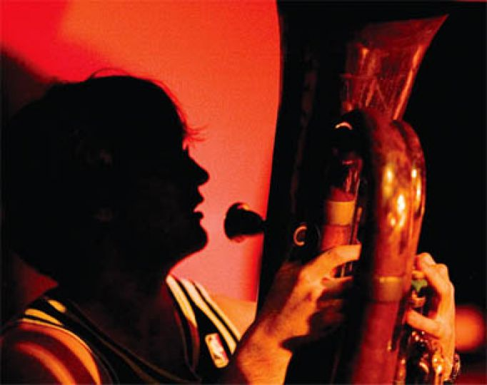 Steve McCann plays tuba in the band's first foray into polka.
