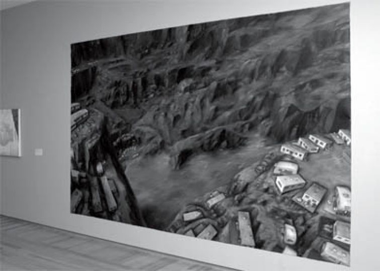"""Eleanor Bond's massive painting, """"Later some industrial refugees from communal settlements in a logged valley in BC,"""" depicts deforestation viewed from the air."""