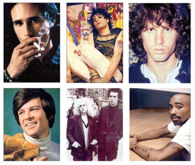Clockwise from left: Jeff Buckley, Richey Edwards, Jim Morrison, Dean Reed, Nancy Spungen and Sid Vicious, Tupac Shakur.