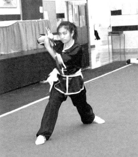 Dianna Lang practices with her southern broadsword, called a nandao.