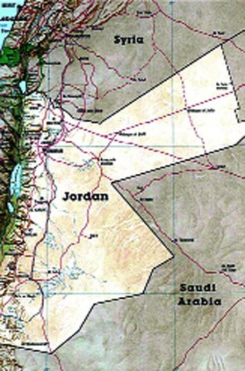 Jordan is bordered by Israel, Syria, Iraq, and Saudi Arabia.