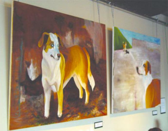 Art frequently adorns the walls at the Common Ground in the JDUC.