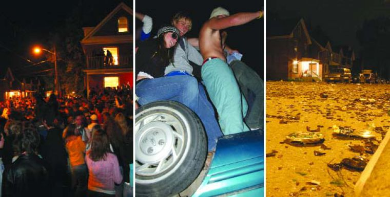 5,000 partiers crammed Aberdeen Street Saturday night, overturning a car and smashing countless beer bottles.