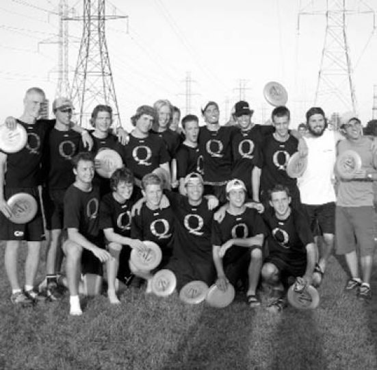 Members of ultimate frisbee show off their golden discs.