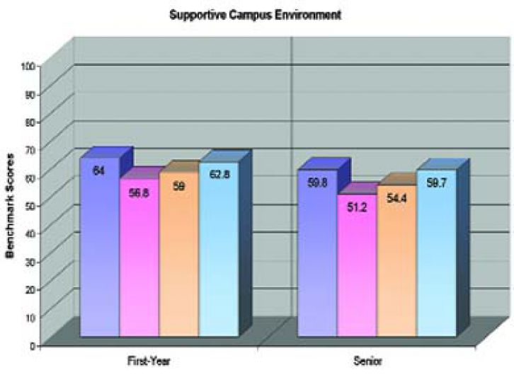 """This graph details how first- and fourth-year students at Queen's responded in the NSSE benchmark category of """"supportive campus environment."""" The bar colours are the same as the bar colours of the previous page."""