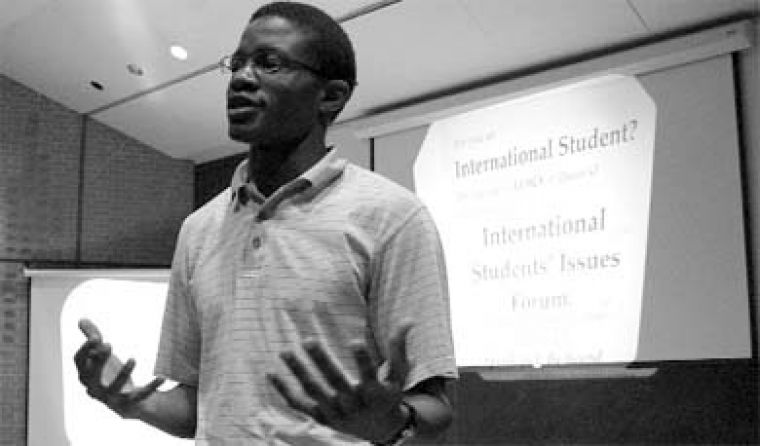 Daniel Ogutu-Were, Sci '07, raised concerns over working on campus at a forum on Monday.