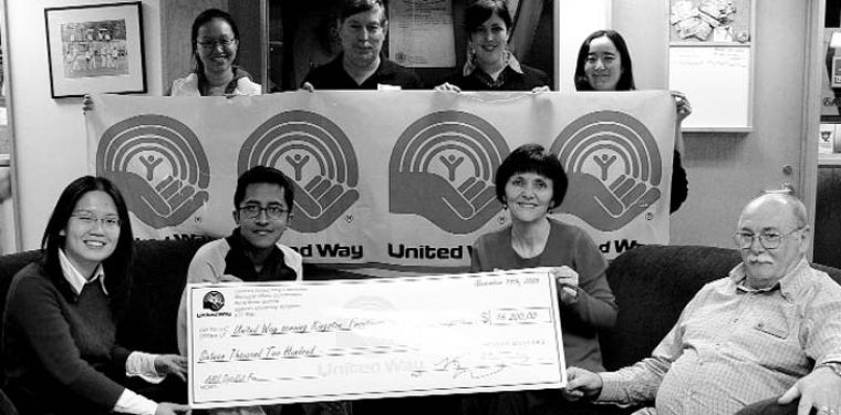The Queen's United Way Committee presented a cheque of $16,200 raised through an AMS opt-outable fee to members of Kingston United Way on Wednesday. The University will celebrate its first annual United Way Week Nov. 14 to 18.