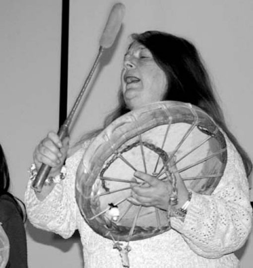 Drummers performed at an aboriginal symposium on Sunday.