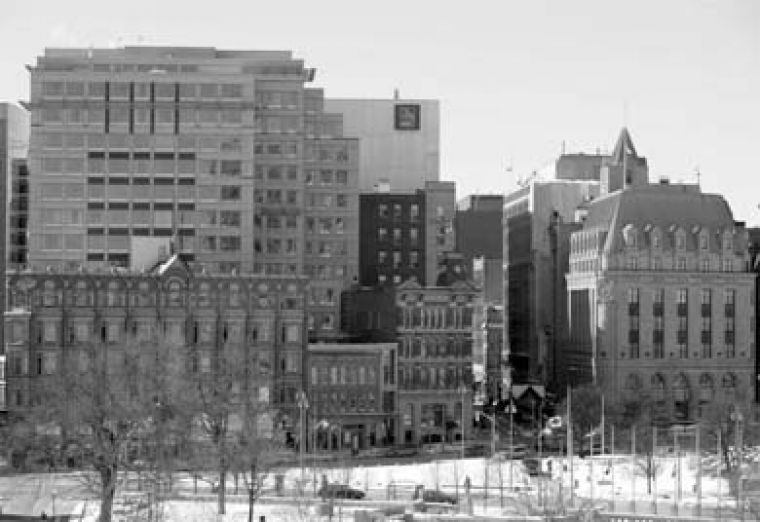 A view into downtown Ottawa across Elgin Street, one of the city's central arteries.