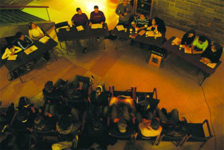All four AMS executive teams answered questions during a debate held in the Lower Ceilidh.