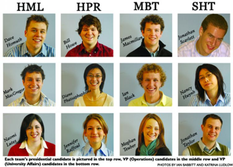 Each team's presidential candidate is pictured in the top row, VP (Operations) candidates in the middle row and VP (University Affairs) candidates in the bottom row.