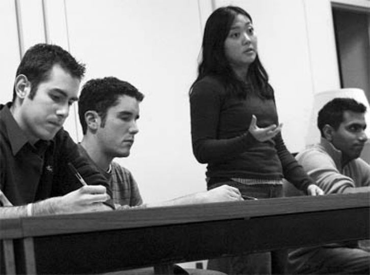 Rector candidates discuss the issues at the first debate, held last night on West Campus.
