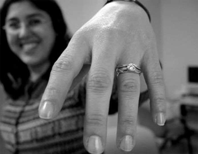 Jacqueline Alvarez, CompSci '07, shows off her ring.