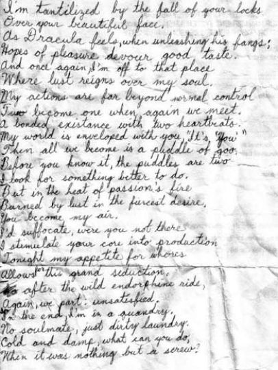 """This letter was found by Vincent Perez on the streets of Victoria, written on the back of a prison inventory slip. Highlights: """"My world is enveloped with you (it's you)/Then all we become is a puddle of goo."""""""
