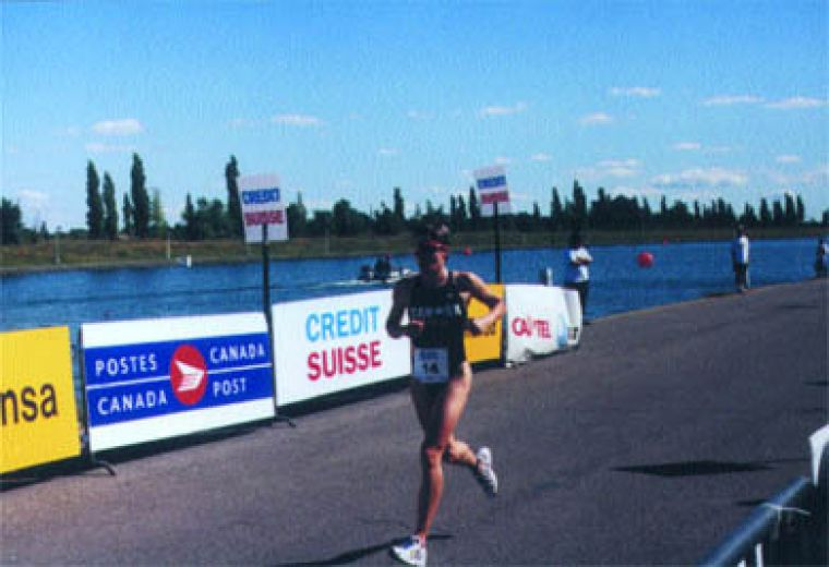 Kingston resident Sharon Donnelly on the final leg of the Triathlon World Championships in Montreal in September 1999. Donnelly is on the Canadian Olympic Team, and placed 38th in Women's Triathlon in Sydney.