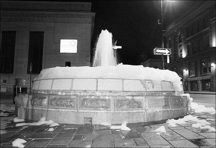The fountain in Market Square works itself into a lather late Sunday night.