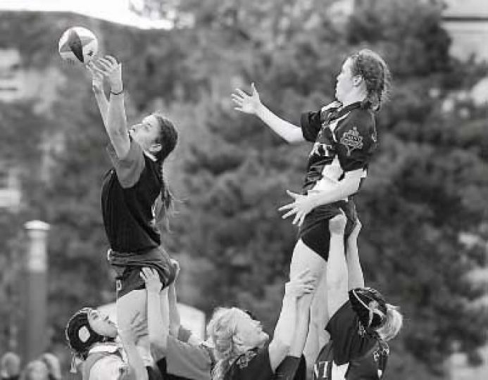 Gael rugby players perform a line-out in Sunday's win against Trent.