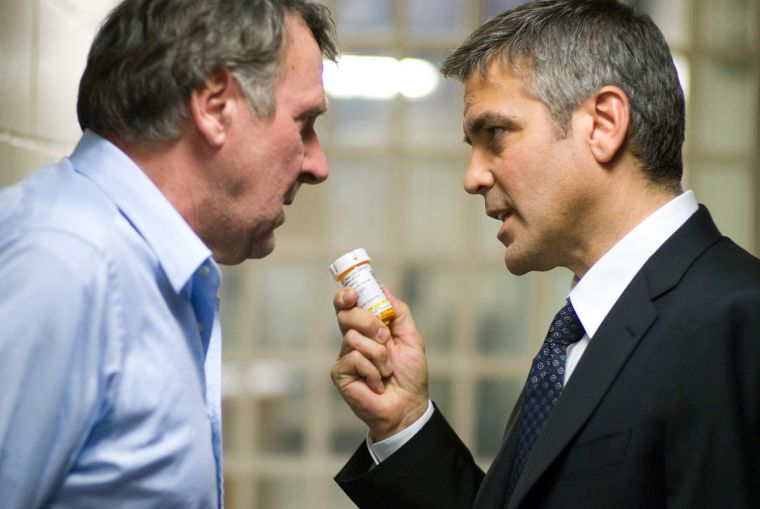 Tom Wilkinson's acting (right) stands out in the corporate psych-thriller, Michael Clayton.