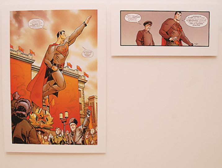 World Upside Down features frames from Marvel's 'What If' comic series, which addresses the possibility of Superman landing in Soviet Russia and becoming a Communist superhero.