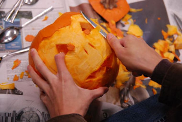 Expert carver Michael Shulist says anything goes in terms of a design for your pumpkin, but every jack-o'-lantern starts with cutting out the lid and scooping out the insides.