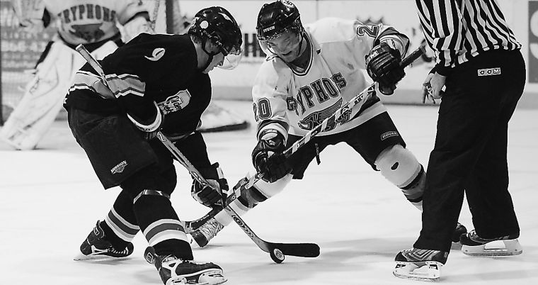 Blake Pronk, seen here against the Guelph Gryphons, and the men's hockey team host Ryerson Saturday night at 8:30.