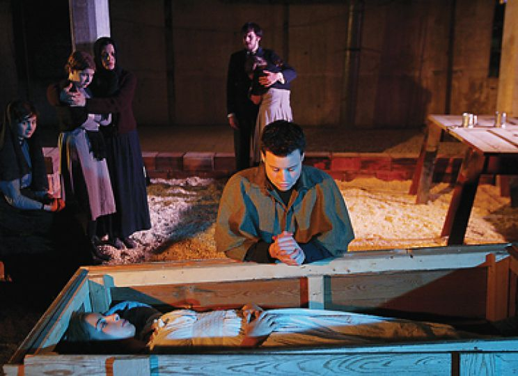 Famine, presented by Single Thread Theatre Company, is being staged at NGB Studios, a former factory and produce warehouse, which adds to the effect of the 19th century setting.