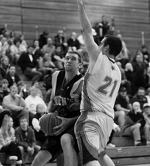 Gaels' forward Mitch Leger shoots against Guelph Saturday.