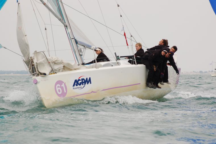 Members of the Queen's sailing team race in France. The team finished ninth overall.