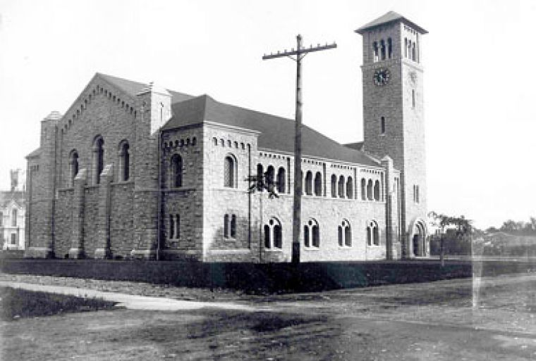 The money needed to build Grant Hall, shown here in 1905, was raised through a student-run subscription campaign.