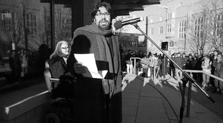 History professor Adnan Hussain speaks at last Wednesday's Rally Against Racism.